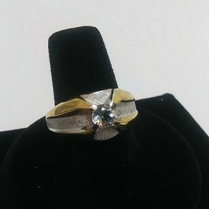 Mens silver and gold ring 10kt gold filled sz 12.5